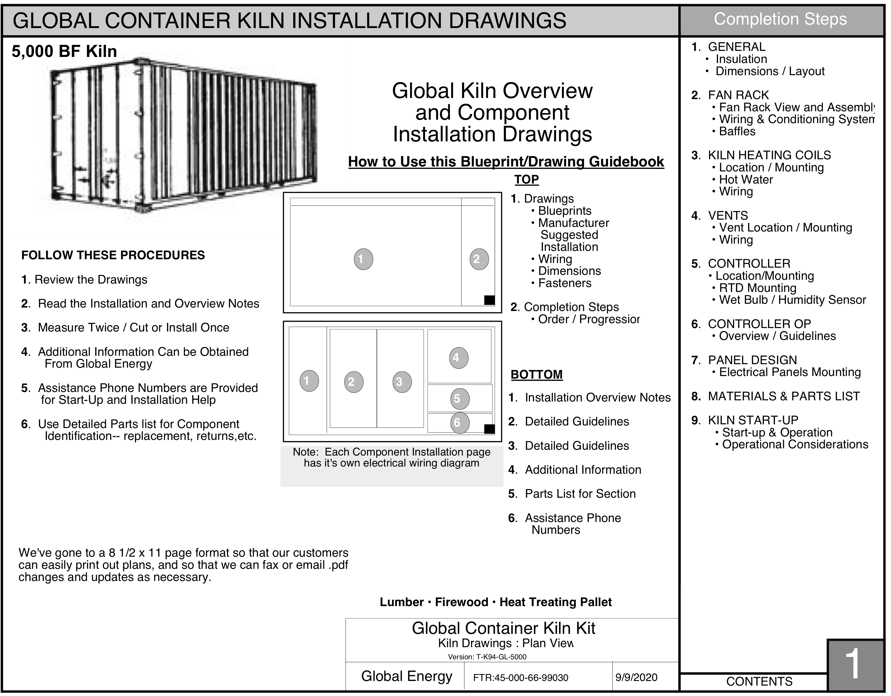 Global Energy 5000 BF shipping container lumber dry kiln plans