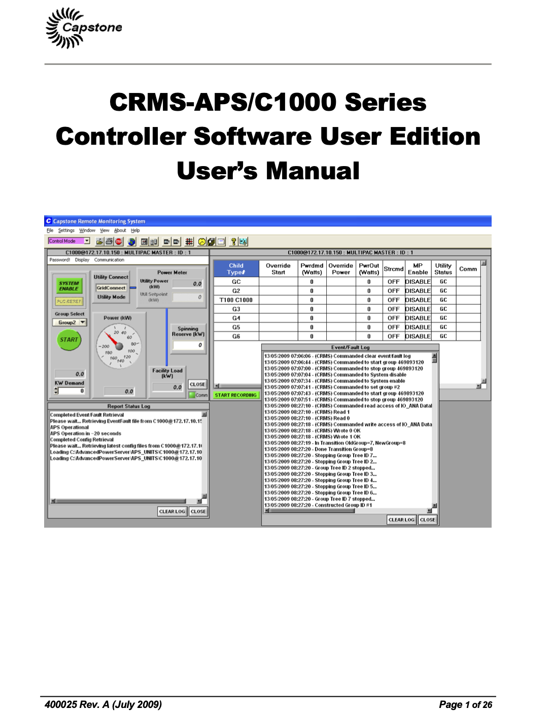400025A CRMS APS User Edition UM2009 and CRMS Maintenance Software