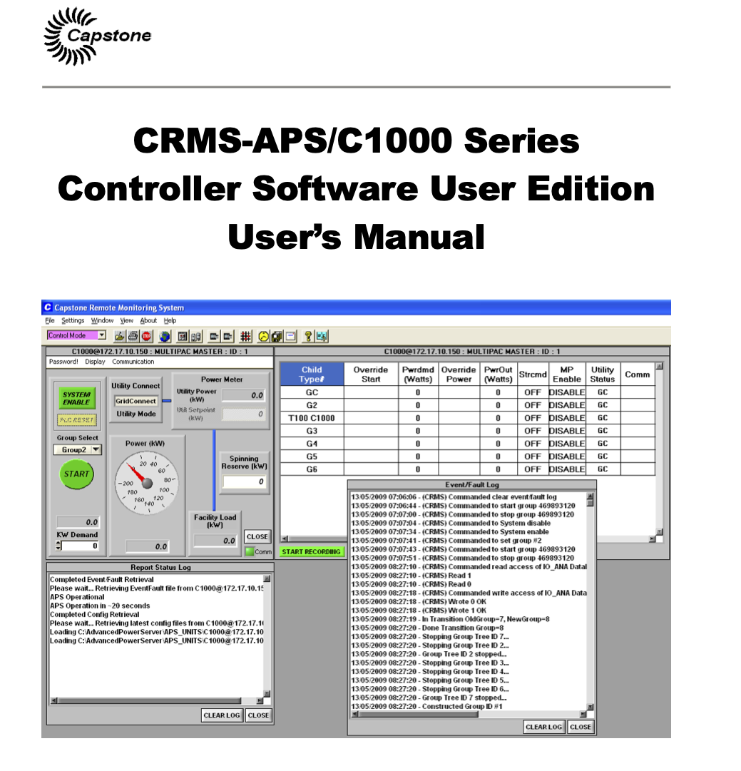 Capstone Turbine CRMS Software