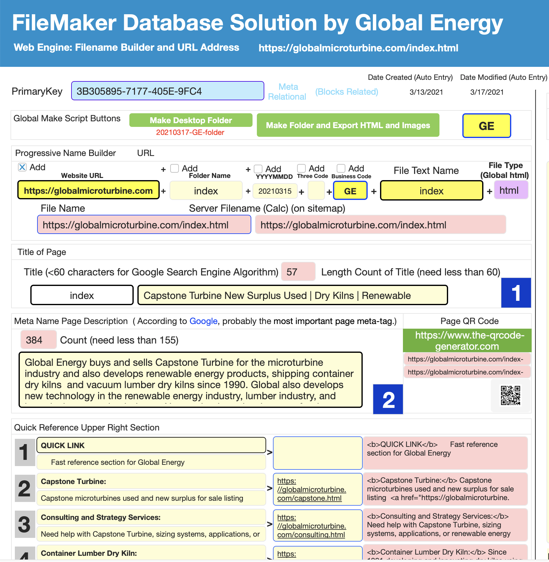 Web Engine Page Generator Using Filemaker by Global Energy
