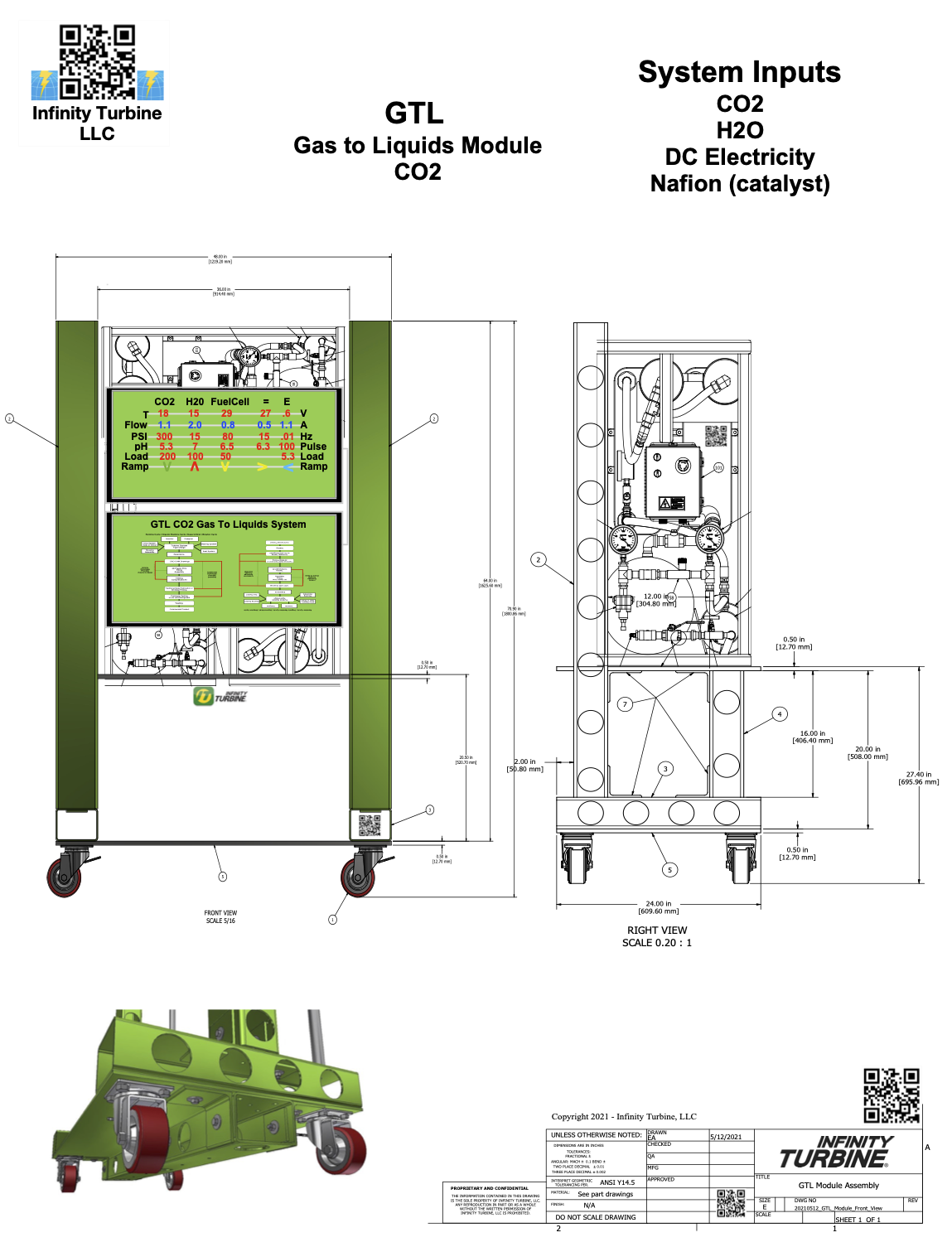 Infinity Turbine GTL Gas to Liquids Experimental Platform Using Reverse Fuel Cell (electrolizer)
