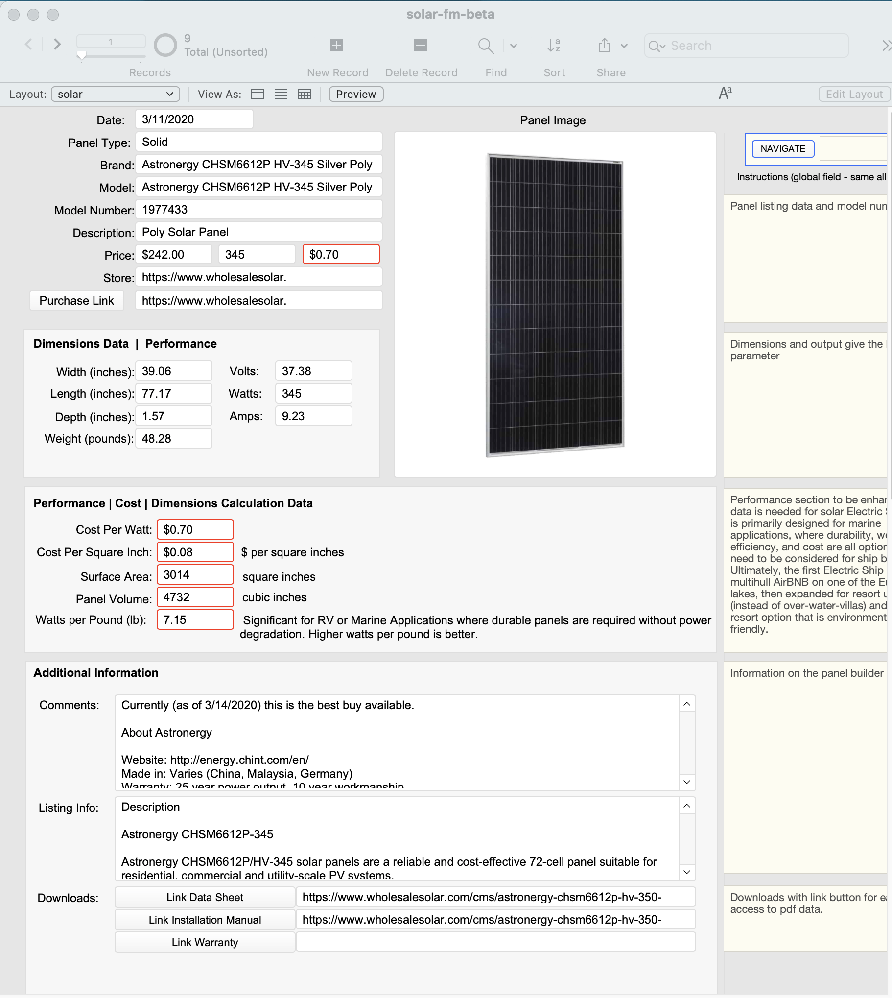 Solar Panel Cost and Performance Filemaker Solution Calculator